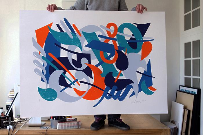 'Clockwork' silkscreen print