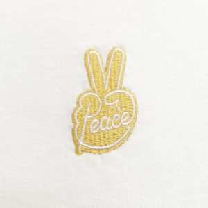 Peace gold embroidery white t-shirt