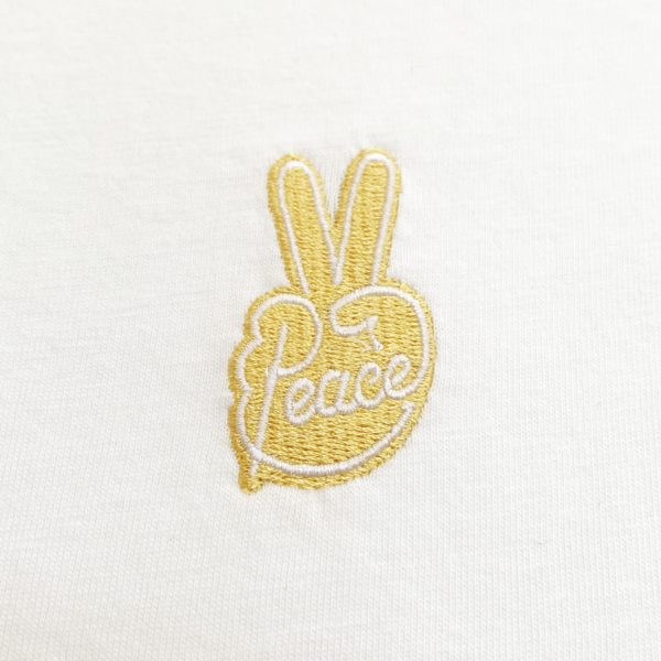 Peace gold embroidery white t-shirt-2213