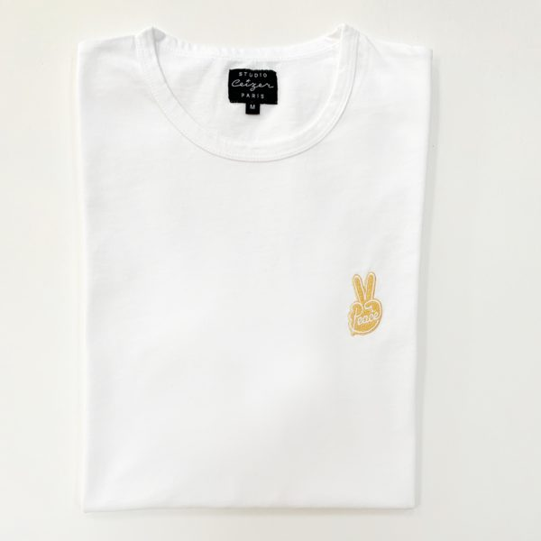 Peace gold embroidery white t-shirt-2214