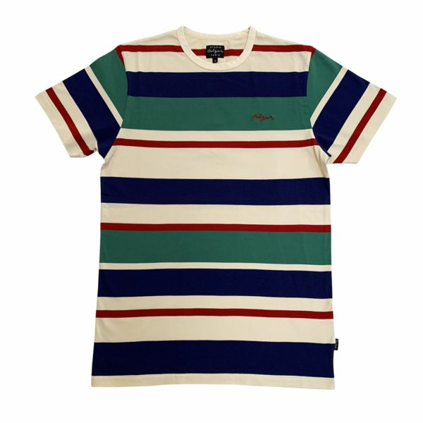 Striped Ceizer embroidery t-shirt -0