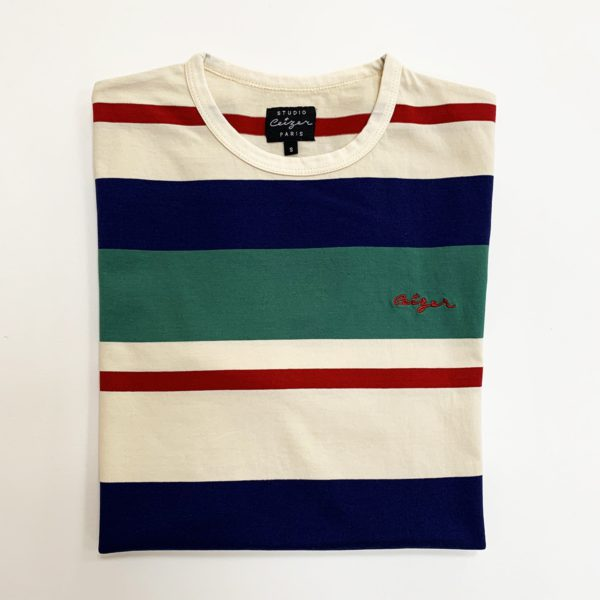 Striped Ceizer embroidery t-shirt -2177