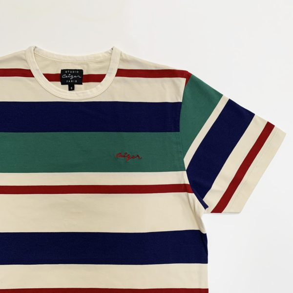 Striped Ceizer embroidery t-shirt -2179